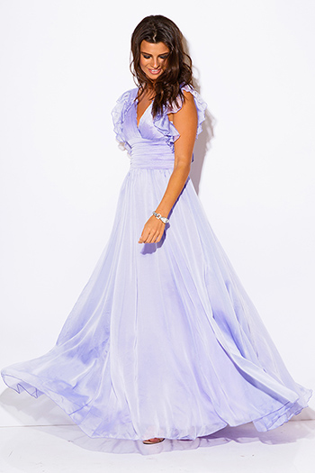 $15 - Cute cheap babydoll cocktail midi dress - lilac purple chiffon ruffle empire waist backless formal evening sexy party maxi dress