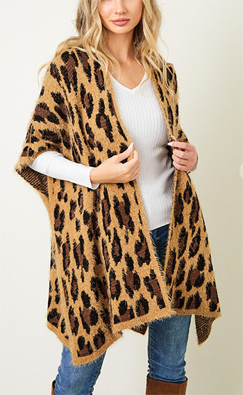 $22.00 - Cute cheap shawl wrap sweater with wide stripe1602854869637 - Sweater Cardigan with Animal Leopard Texture