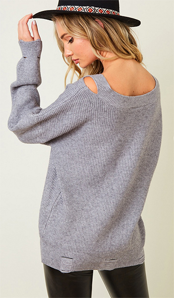 $28.50 - Cute cheap dusty blue fuzzy knit long sleeve round neck oversized sweater tunic top - Sweater cut out shoulder top with long sleeve