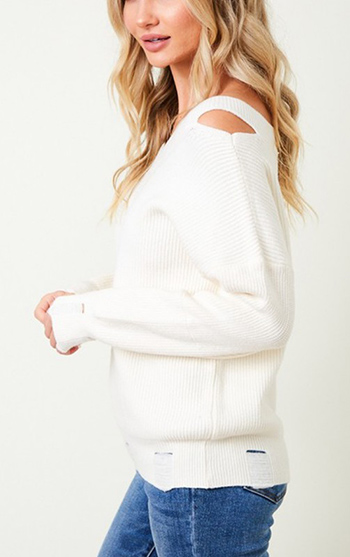 $28.50 - Cute cheap Sweater cut out shoulder top with long sleeve