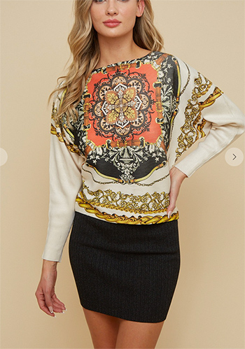 $32.00 - Cute cheap chiffon top - sweater dolman sleeve top with all over sublimation printing front and back.