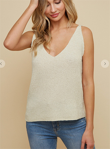 $17.75 - Cute cheap clothes - sweater double v neck tank top.