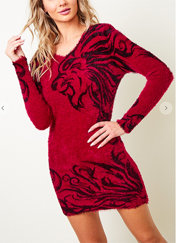 $21.00 - Cute cheap sweater dress with cheetah printed