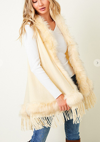 $33.50 - Cute cheap sweater hooded poncho with  faux fur trim.