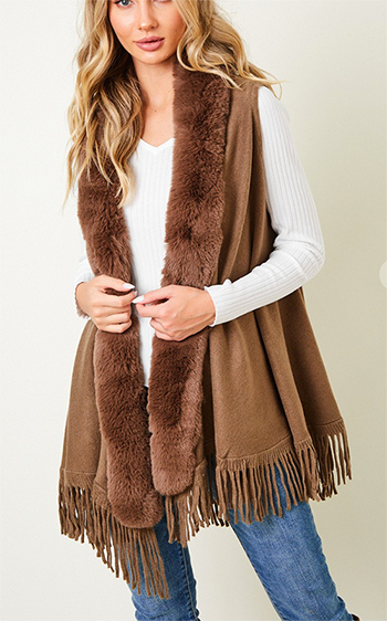 $27.50 - Cute cheap shawl wrap sweater with wide stripe1602854869637 - Sweater Hooded Vest with Faux Fur Trim.