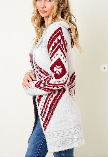 $35.50 - Cute cheap ivory white sheer crochet knit long sleeve scallop hem hooded boho top - Sweater Long Sleeve Aztec pattern Cardigan