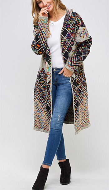 $27.50 - Cute cheap ivory white sheer crochet knit long sleeve scallop hem hooded boho top - sweater long sleeve hooded long cardigan rainbow multi pattern.