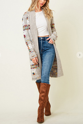 $39.75 - Cute cheap Sweater long sleeve open long cardigan with Aztec jacquard pattern