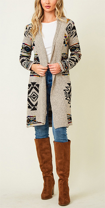$39.75 - Cute cheap dusty blue fuzzy knit long sleeve round neck oversized sweater tunic top - Sweater long sleeve open long cardigan with Aztec Rainbow Jacquard Pattern.
