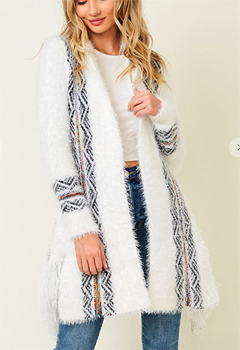 $25.50 - Cute cheap Sweater long sleeve open long cardigan with rainbow aztec  jacquard pattern.