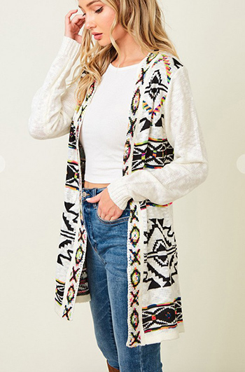 $29.50 - Cute cheap ivory white sheer crochet knit long sleeve scallop hem hooded boho top - Sweater long sleeve open long cardigan with Rainbow Aztec Jacquard Pattern.
