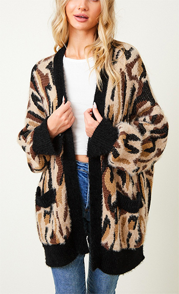 $39.95 - Cute cheap sweater top - cheetah animal print long sleeve boho sweater cardigan