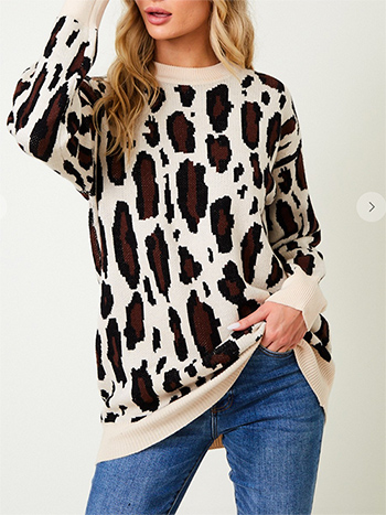 $27.00 - Cute cheap dusty blue fuzzy knit long sleeve round neck oversized sweater tunic top - Sweater long sleeve top with animal print