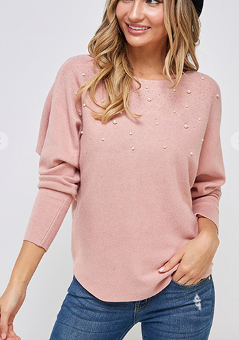 $24.50 - Cute cheap dusty blue fuzzy knit long sleeve round neck oversized sweater tunic top - Sweater long sleeve top with faux pearl trim.