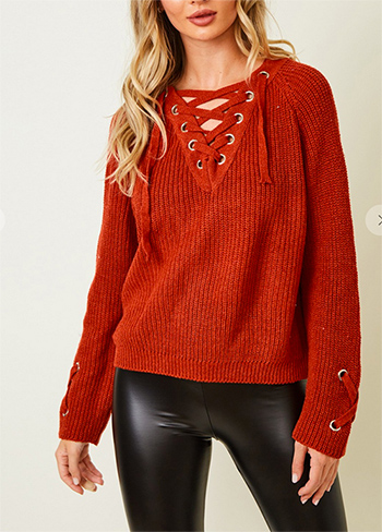 $18.50 - Cute cheap chiffon top - Sweater long sleeve V neck top with eyelet trim