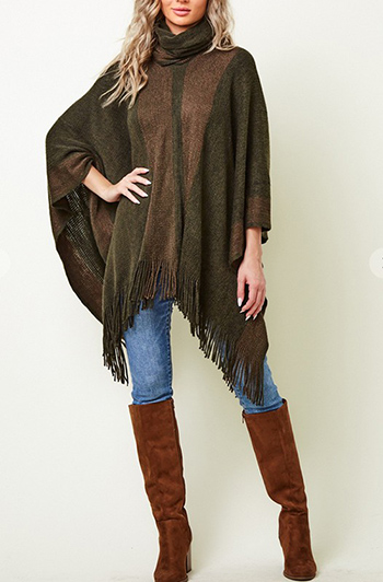 $19.50 - Cute cheap fall - sweater poncho with lurex yarn