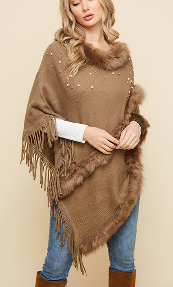 $25.50 - Cute cheap Sweater Poncho with Pearl EMB Text Stitch FF and Fringe.
