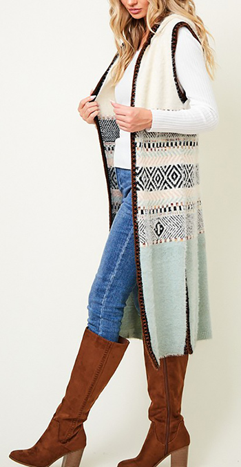 $37.50 - Cute cheap ivory white sheer crochet knit long sleeve scallop hem hooded boho top - Sweater Vest Hooded Long Cardigan Aztec Pattern