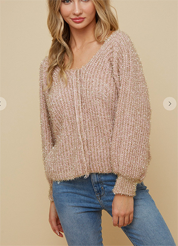 $19.50 - Cute cheap ivory white sheer crochet knit long sleeve scallop hem hooded boho top - sweaterdouble v neck puff sleeve top with gold  lurex  fuffy yarn.