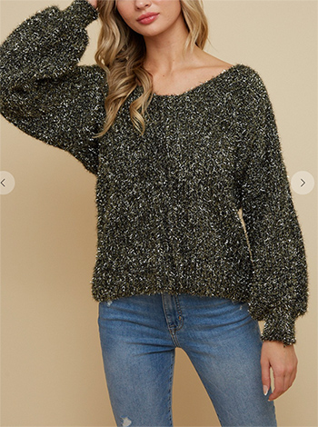 $19.50 - Cute cheap sweaterdouble v neck puff sleeve top with gold  lurex  fuffy yarn.