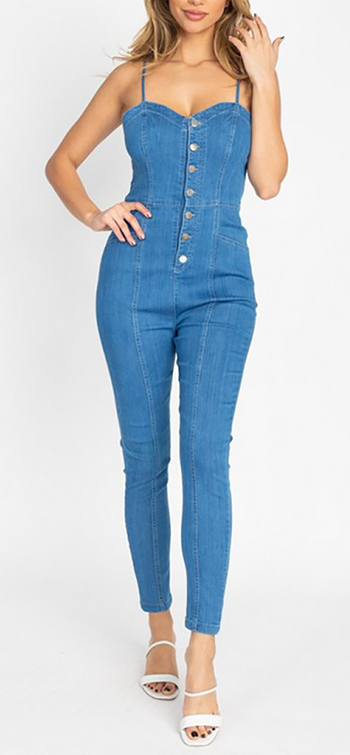 $29.50 - Cute cheap sweetheart denim skinny jumpsuit