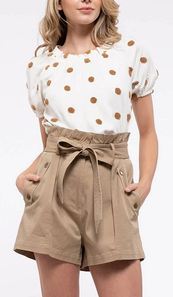 $22.25 - Cute cheap swiss dot puf sleeve top