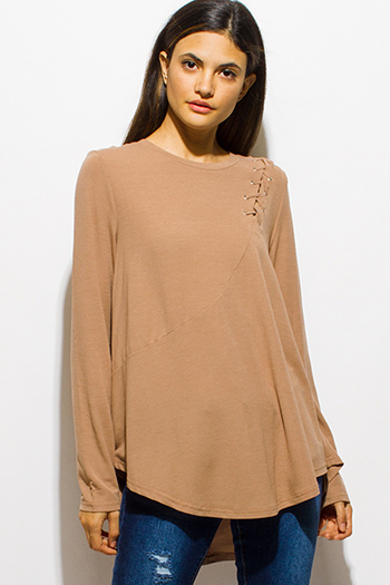 $15 - Cute cheap black long sleeve faux leather patch ribbed slub tee shirt top - tan beige long sleeve laceup shoulder boat neck tunic top