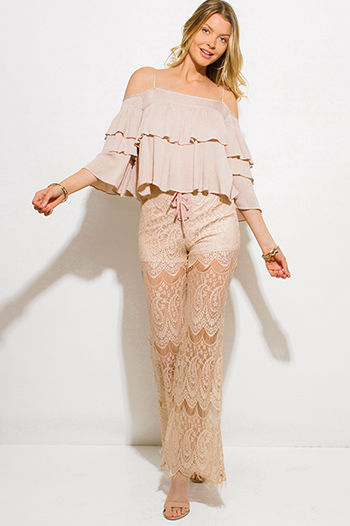 $10 - Cute cheap lace sheer jumpsuit - tan beige sheer paisley lace mesh laceup scallop hem boho wide flare leg pants