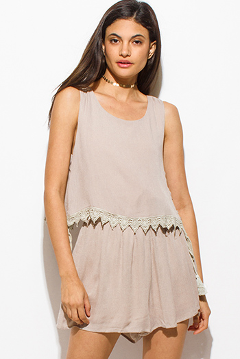 $15 - Cute cheap crochet open back mini dress - tan beige sleeveless tiered crochet trim cut out back vent laceup side romper boho playsuit jumpsuit