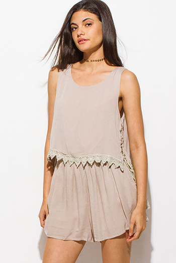 $15 - Cute cheap backless bodycon jumpsuit - tan beige sleeveless tiered crochet trim cut out back vent laceup side romper boho playsuit jumpsuit
