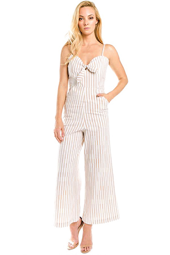 $25 - Cute cheap open back evening jumpsuit - tan beige striped sleeveless sailor tie front pocketed wide leg boho jumpsuit
