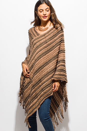 $15 - Cute cheap olive green front pocket long sleeve sweater knit top - tan brown fuzzy knit striped asymmetrical hem boho sweater knit poncho top