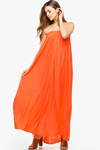 $30 - Cute cheap black linen mid rise tie waisted pocketed resort boho shorts - Tangerine orange strapless boho resort sheath column evening maxi sun dress