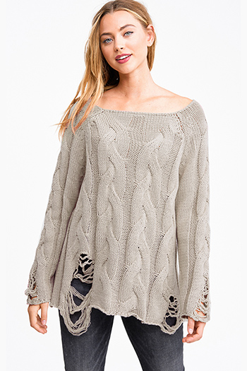 $20 - Cute cheap black floral print chiffon tiered off shoulder long bell sleeve boho blouse top - Taupe beige cable knit long sleeve destroyed distressed fringe boho sweater top