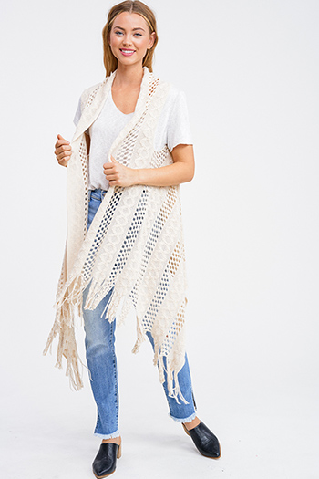 $12 - Cute cheap black ribbed knit surplice faux wrap long slit sleeve wrist tie boho top - Taupe beige crochet knit fringe hem open front boho sweater cardigan vest top