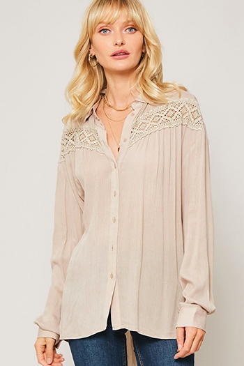 $25 - Cute cheap taupe beige long sleeve oversized hooded boho textured slub sweater top - Taupe beige crochet lace trim boho button up peasant blouse top