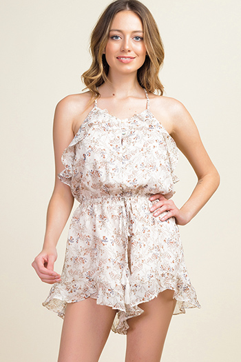 $20 - Cute cheap blue boho romper - Taupe beige floral print chiffon ruffled halter backless boho sexy party romper
