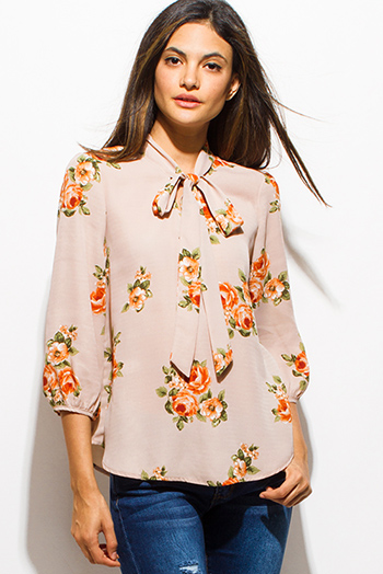 $15 - Cute cheap gauze blouse - taupe beige floral print tie neck quarter sleeve boho blouse top