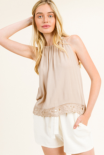 $15 - Cute cheap ivory white thin strap ethnic embroidered boho peasant swing tank top - Taupe beige halter sleeveless crochet lace trim keyhole back summer sexy party tank top