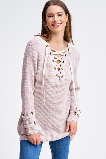 $30 - Cute cheap caged long sleeve sweater - Taupe beige knit long sleeve eyelet detail caged laceup v neck boho sweater top