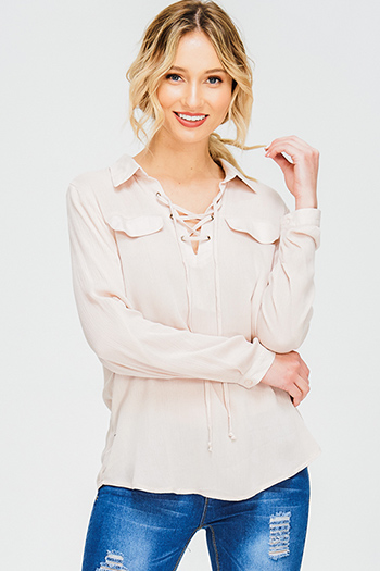 $15 - Cute cheap white eyelet embroidered long sleeve scallop hem boho shift mini swing dress - taupe beige laceup front faux flap pocket long sleeve boho blouse top