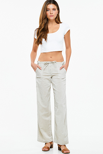 $13 - Cute cheap light blue washed denim high waisted wide leg crop boho culotte jeans - Taupe beige linen wide leg pocketed culotte boho summer resort pants