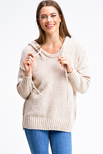 $30 - Cute cheap boho sweater - Taupe beige long sleeve oversized hooded boho textured slub sweater top