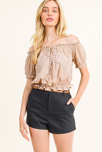 $15 - Cute cheap taupe beige faux suede fringe trim open front boho vest top - Taupe beige off shoulder crochet lace applique boho peasant crop top
