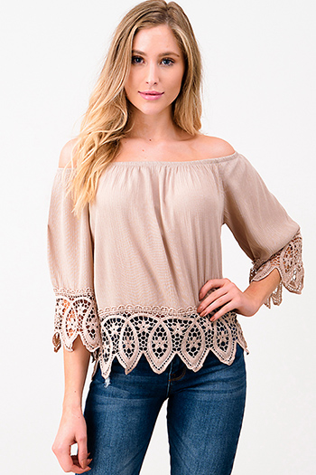 $15 - Cute cheap black linen mid rise tie waisted pocketed resort boho shorts - Taupe beige off shoulder quarter sleeve crochet lace trim resort boho top