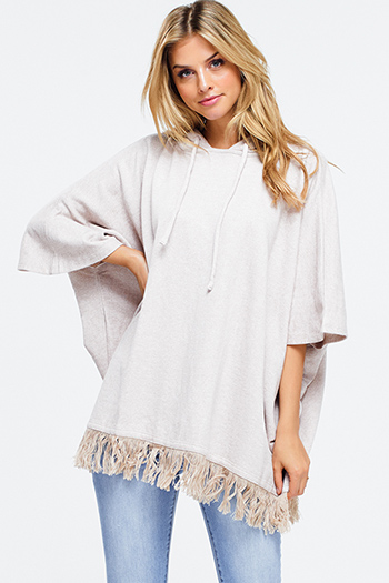 $15 - Cute cheap asymmetrical fringe sweater - Taupe beige short sleeve fringe hem boxy hooded sweatshirt poncho top