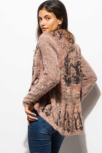 $20 - Cute cheap jacket - taupe beige textured graphic print open front embellished cocoon fuzzy knit sweater cardigan top