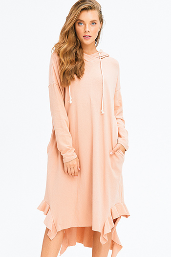 $20 - Cute cheap satin bejeweled evening dress - taupe blush long sleeve ruffle hem pocketed hooded boho maxi sweater shirt dress