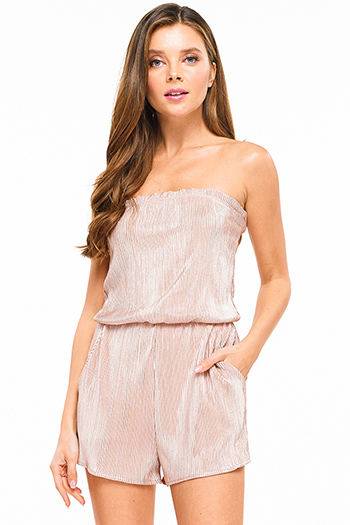 $15 - Cute cheap black stripe strapless sweetheart neck cut out wide leg resort evening jumpsuit - Taupe blush metallic micropleat strapless pocketed sexy club romper jumpsuit