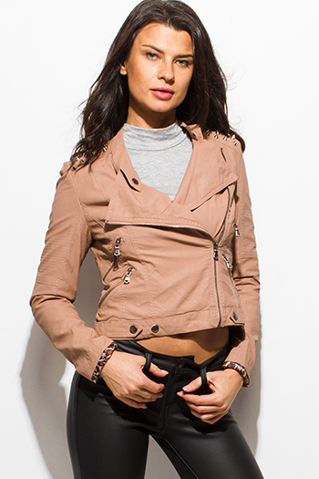 $20 - Cute cheap black long sleeve faux leather patch ribbed slub tee shirt top - taupe blush pink faux leather long sleeve collarless studded fitted moto jacket